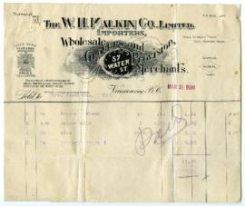 The W.H. Malkin Co., Limited Bill - March 31, 1908