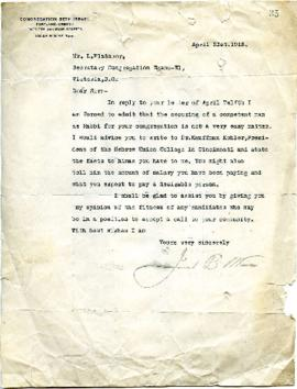 J.B. Wise to L. Platnauer respecting the hiring of a Rabbi - April 21, 1913