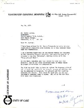 Vancouver General Hospital Video Tapes for Paediatrics May 24, 1979 - July 19, 1979