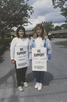 Monica Haywood and Ruti Aharon support nurses on strike at Louis Brier Home