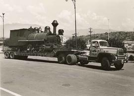 'Curly', a Canadian Pacific Railway construction locomotive, being transported on flatbed truck