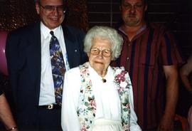 [Alice Read, Bernie Simpson, and an unidentified man at Alice Read's 100 birthday celebration]