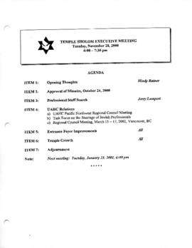 Minutes for Executive Meeting, November 28, 2000