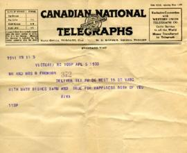 Telegram from Riva, April 5, 1933