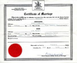 Certificate of Marriage, April 21, 1975