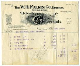 The W.H. Malkin Co., Limited Bill - October 15, 1908