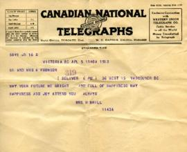 Telegram from Mrs. M. Brill, April 5, 1933