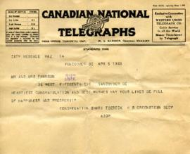 Telegram from congregation Shari Tzedeck, April 5, 1933