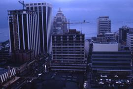 Vancouver cityscape facing north with buildings along Burrard Street and the Marine Building in t...
