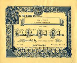 Certificate to plant trees, October 15, 1946