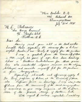 M. Badaker to M. L. Platnauer applying for position as Hebrew teacher - July 21, 1931