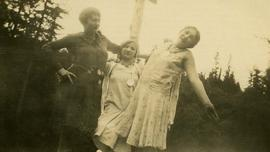 [Esther Nemetz in the centre with two unidentified adolescent girls]