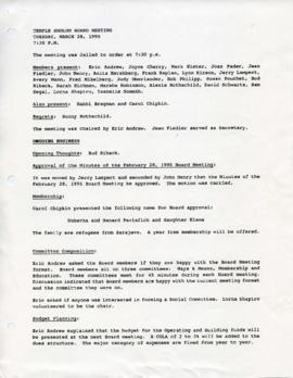 Minutes for Board Meeting, March 28, 1995