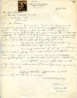 D. Rome to M. L. Platnauer applying for position as Hebrew teacher - July 31, 1931