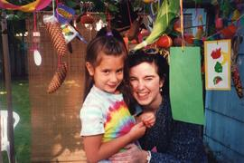 Sharon Sheppard and unidentified girl in sukkah
