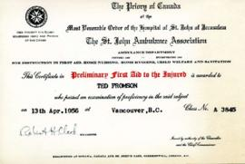 First aid certificate, April 13, 1956