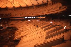 Interior of what appears to be BC Place while it is under construction