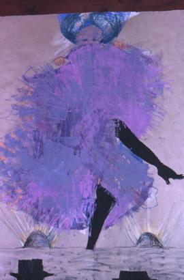 Drawing of a cancan dancer wearing a purple skirt dancing on a stage