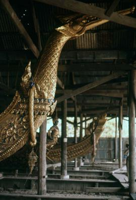 Portion of a royal barge at the Royal Barges National Museum along the Chao Phraya River near Ban...