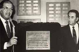 [Joseph H.] Cohen and Mr. Pezim with plaque