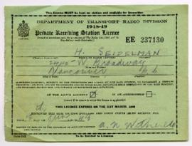 Private Receiving Station Licence - [June] 18, 1948