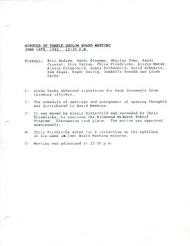 Minutes for Board Meeting, June 14th, 1992