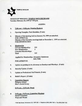 Minutes for Board Meeting, February 23, 1999