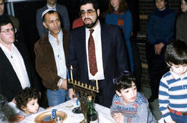 Lighting menorah, Hannukah at Beth Hamidrash