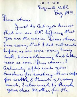 Letter from Mother & Dad [Fromson], October 3, 1933