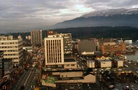 Vancouver looking north with West Georgia Street on the left of the image and the mountains and S...