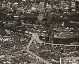 Aerial view of Granville Bridge during course of construction, no. 50A, Vancouver, British Columbia