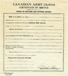 Canadian Army Certificate of Service for Irving Edward Snider