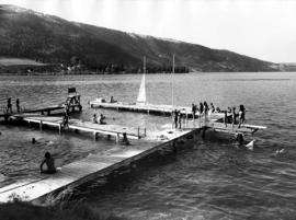 Swimming and sailing activities at Camp Hatikvah originate from the unique H dock