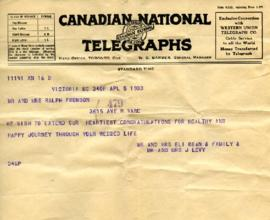 Telegram from Mr. and Mrs. Eli Bean & family & Mr. and Mrs. J. Levy, April 5, 1933