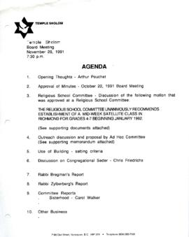 Minutes for Board Meeting, November 26, 1991