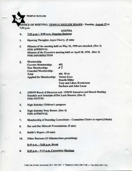 Minutes for Board Meeting, August 25, 1998