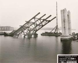 Failed pier and submerged north span, for Royal Commission, Second Narrows Bridge, Vancouver, Bri...