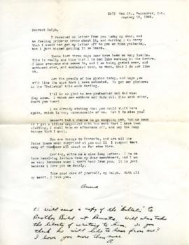 Letter from Ann, January 18, 1933