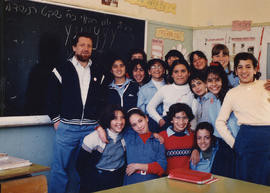 Robert Edel and students in Israel
