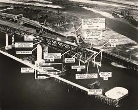 No. 78 - 2nd Narrows Bridge, aerial shortly before disaster with montage showing status as of 6-1...