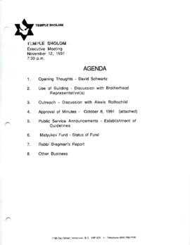 Minutes for Executive Meeting, November 12, 1991
