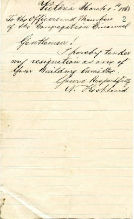 V. Koshland to the Congregation tendering his resignation - March 1, 1863