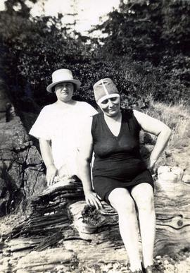 Jane Fromson with a woman in swim costume