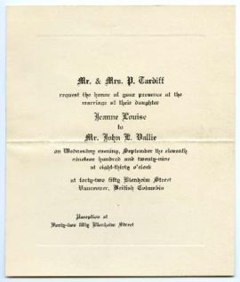 Invitation - September 11, 1929