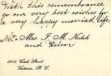 Wedding letter from Mr. & Mrs. J. M.  Nodek and Helen, [April 1933]