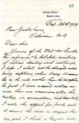 H. L. Salmon to Rev. Jack Levy on various subjects - October 25, 1928