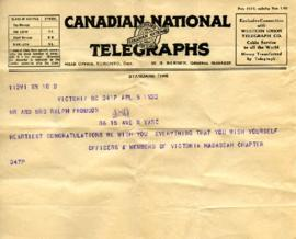 Telegram from Officers & members of Victoria Hadassah chapter, April 5, 1933