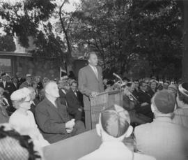 Unidenified man giving a speech at the opening of the Jewish Home for the Aged