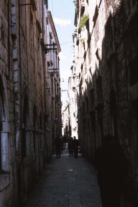One of Dubrovnik's narrow marble paved streets