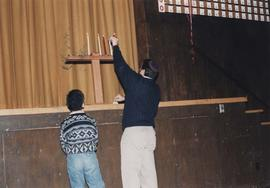 Lighting a menorah